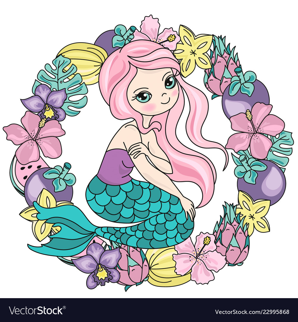 Mermaid Fruits Sea Travel Clipart Color Royalty Free Vector
