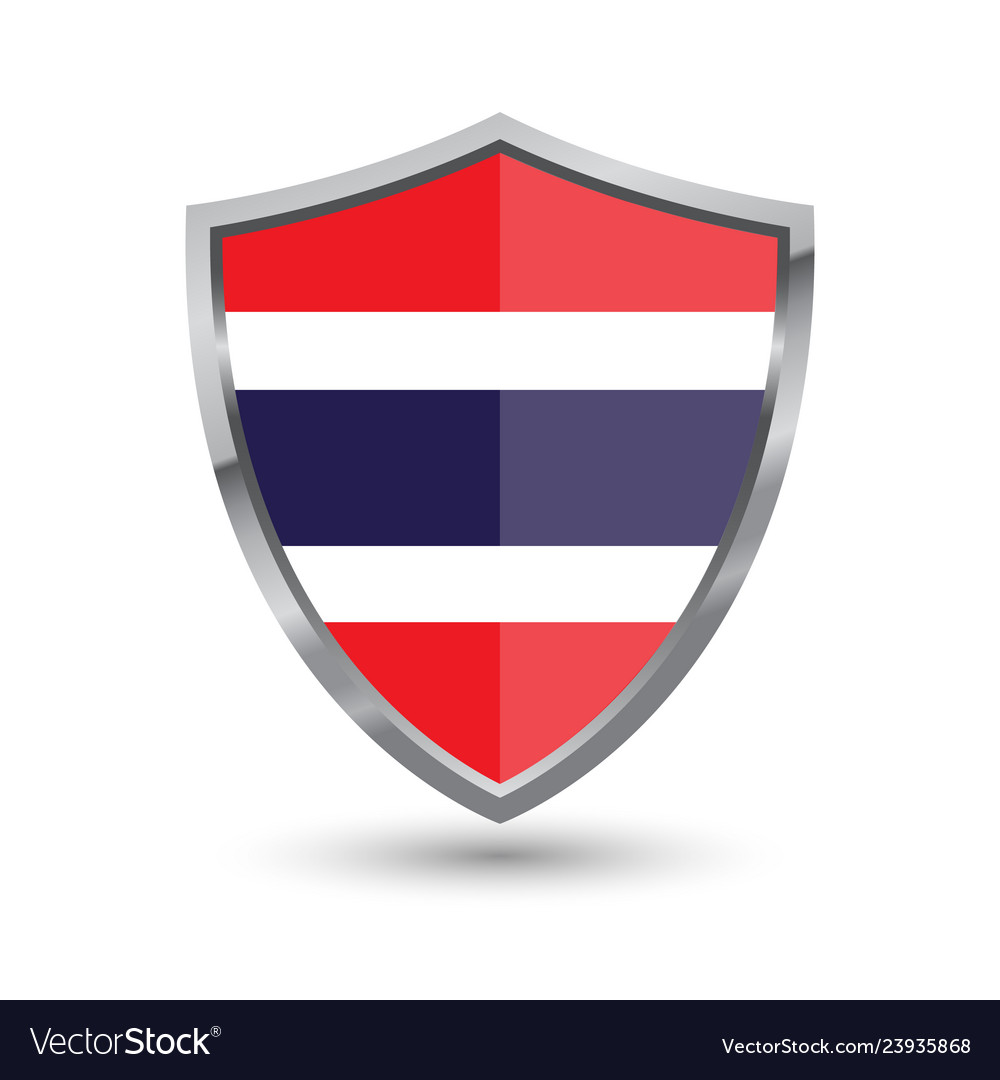 Shield with flag of thailand isolated on white bac