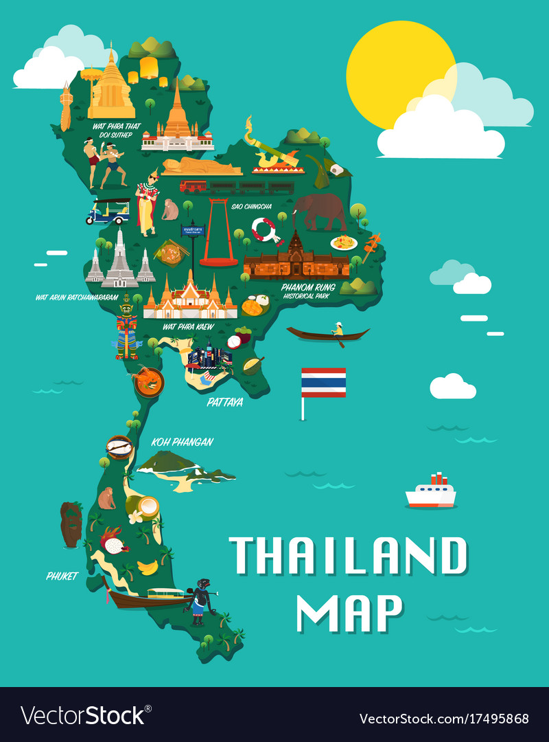 Thailand map with colorful landmarks design