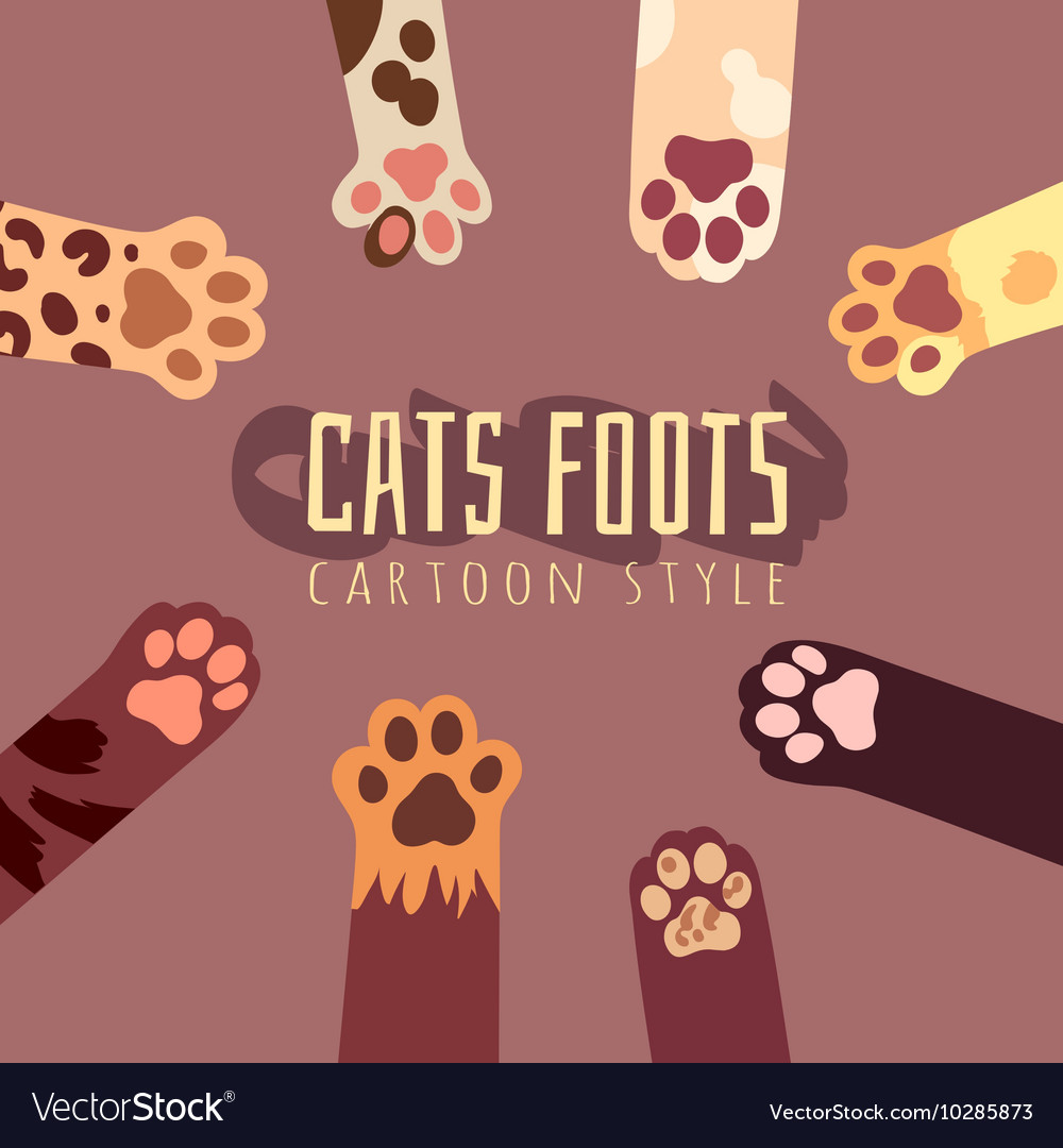 Background with cats foots in cartoon style