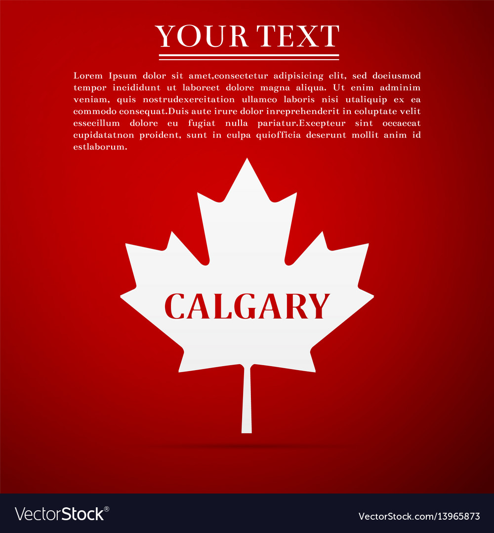 Canadian maple leaf with city name calgary flat
