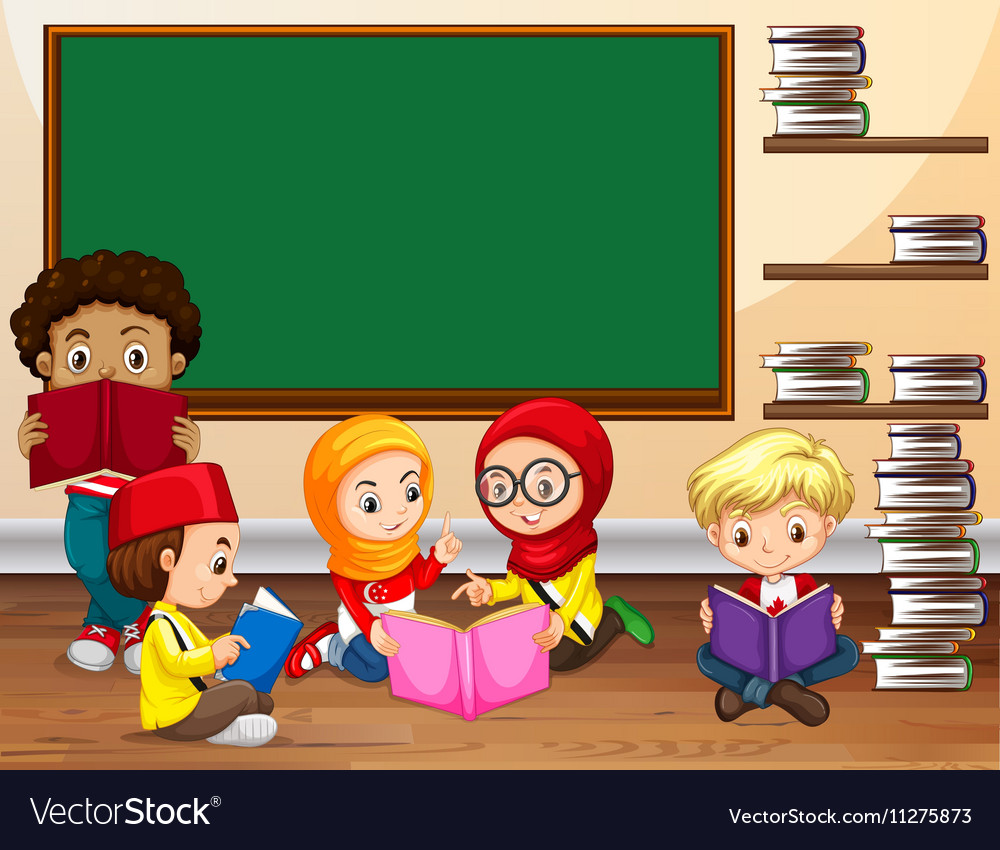 Children Reading Book In Classroom Royalty Free Vector Image