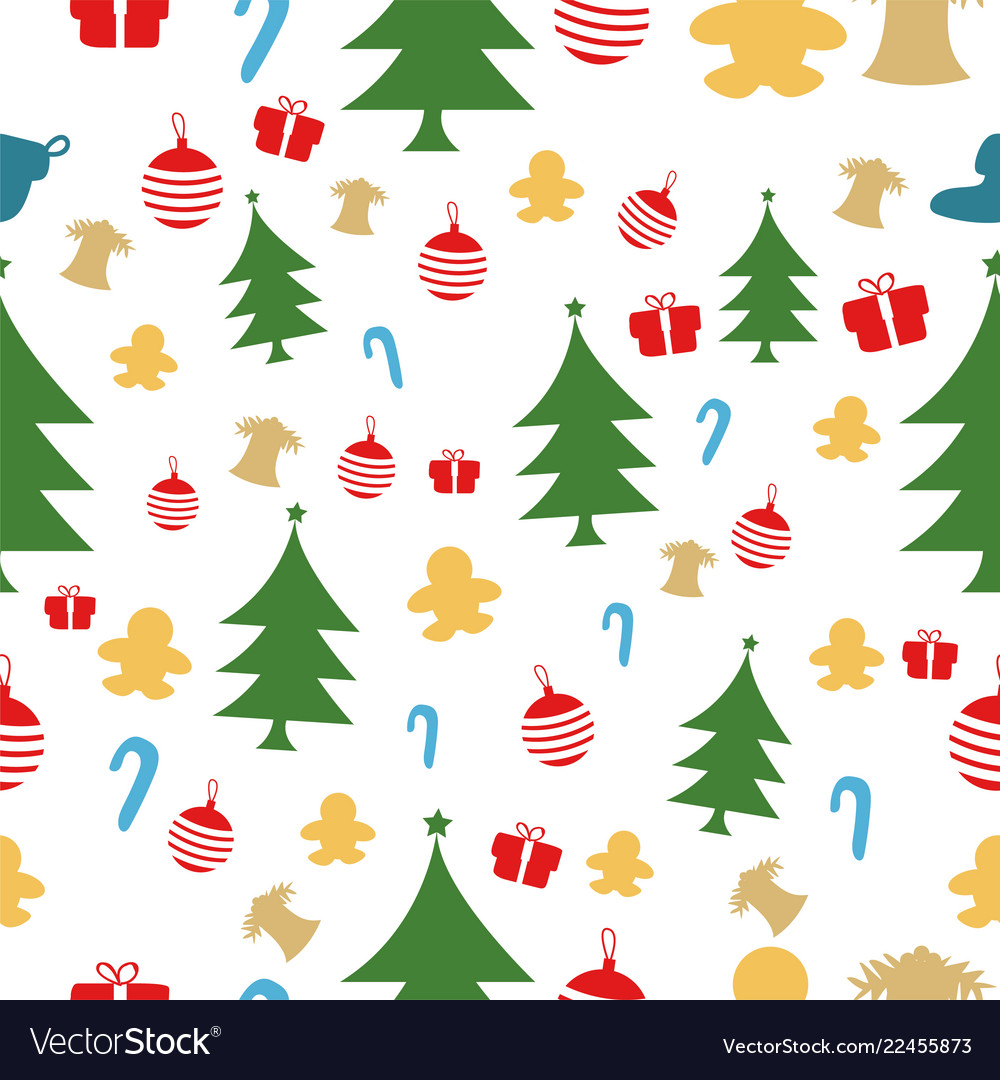 Christmas seamless pattern isolated over white