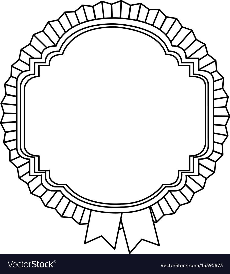 Figure emblem border with ribbon icon vector image