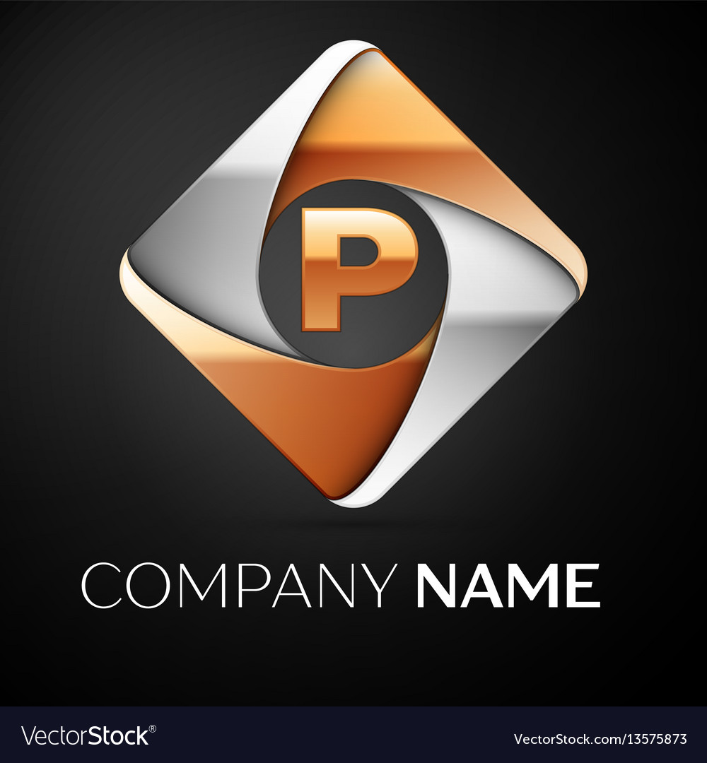 Letter p logo symbol in the colorful rhombus on