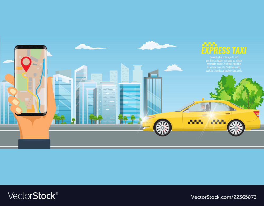 Online taxi service concept yellow taxi