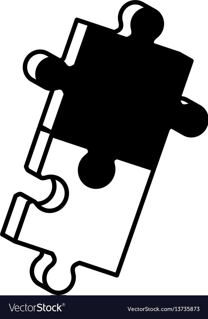 Pieces puzzle solution monochrome