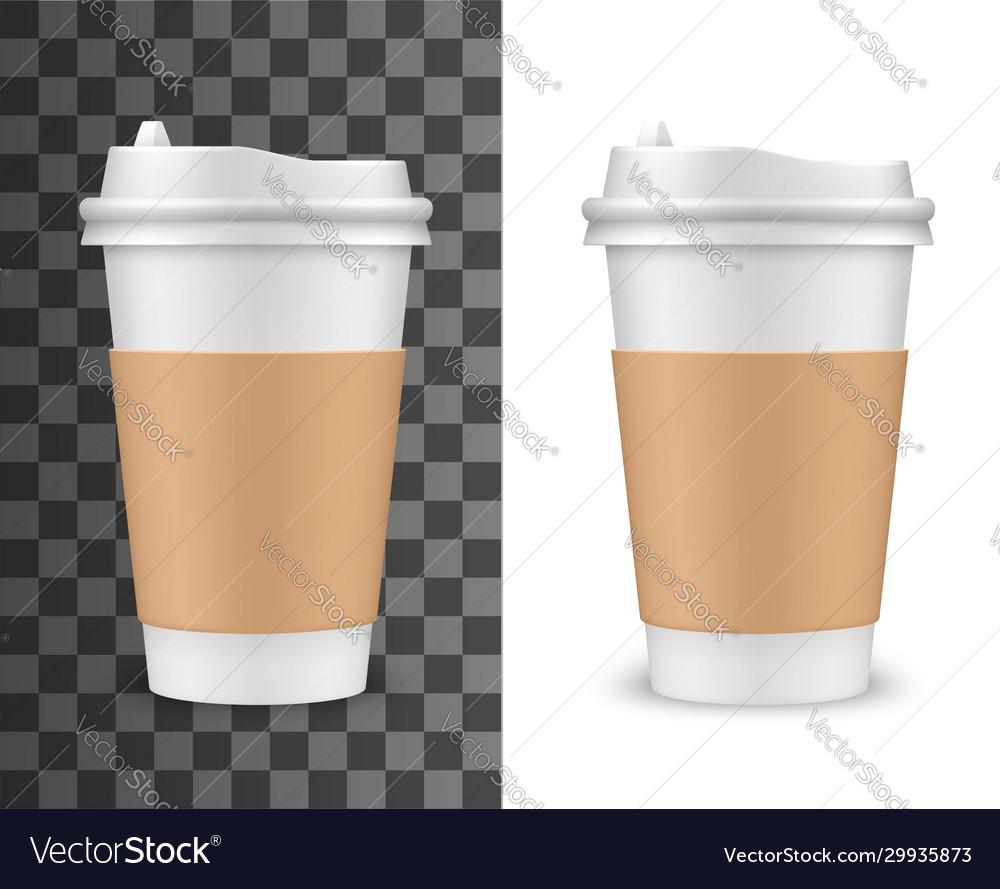 Realistic coffee cup tea plastic 3d mockup