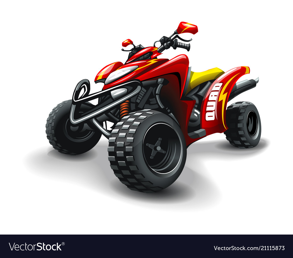 Red quad bike with strips on white background