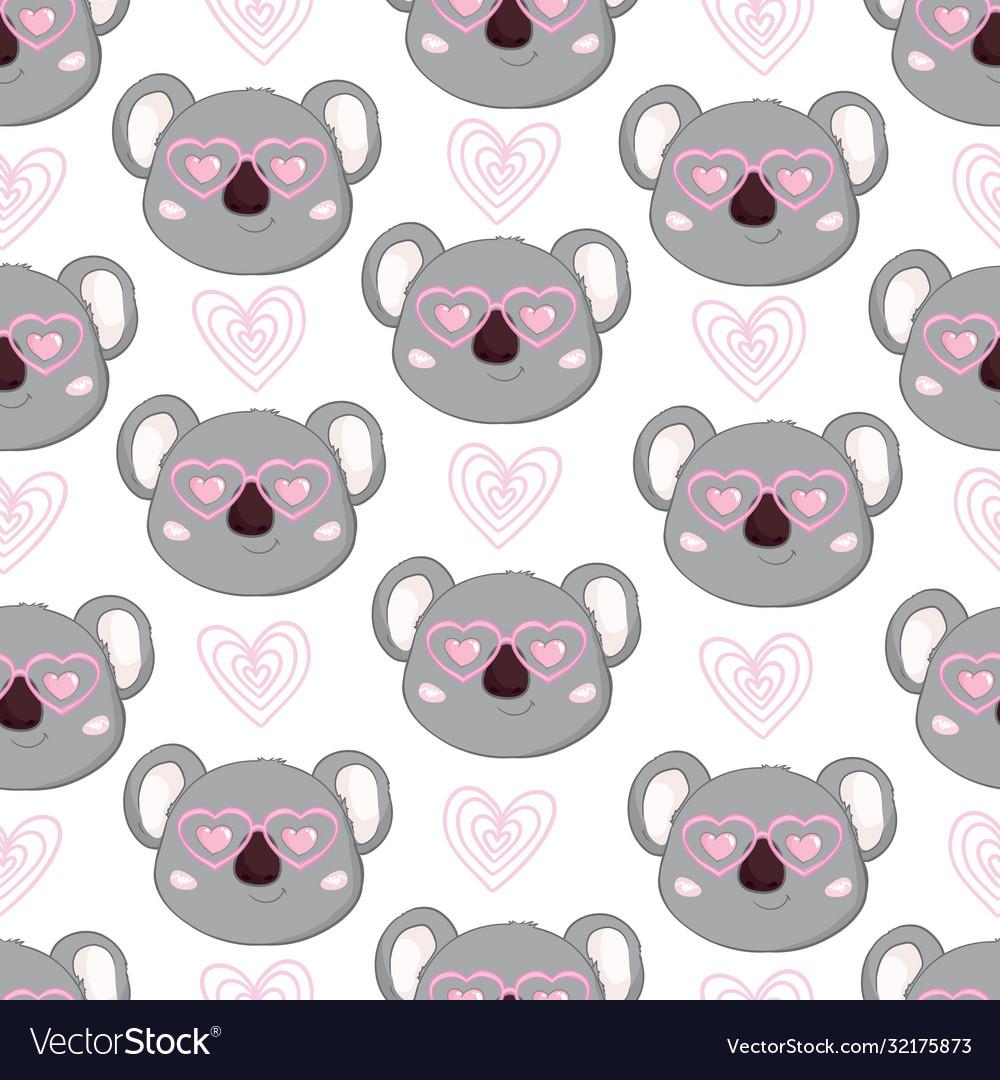 Seamless cute cartoon koala pattern