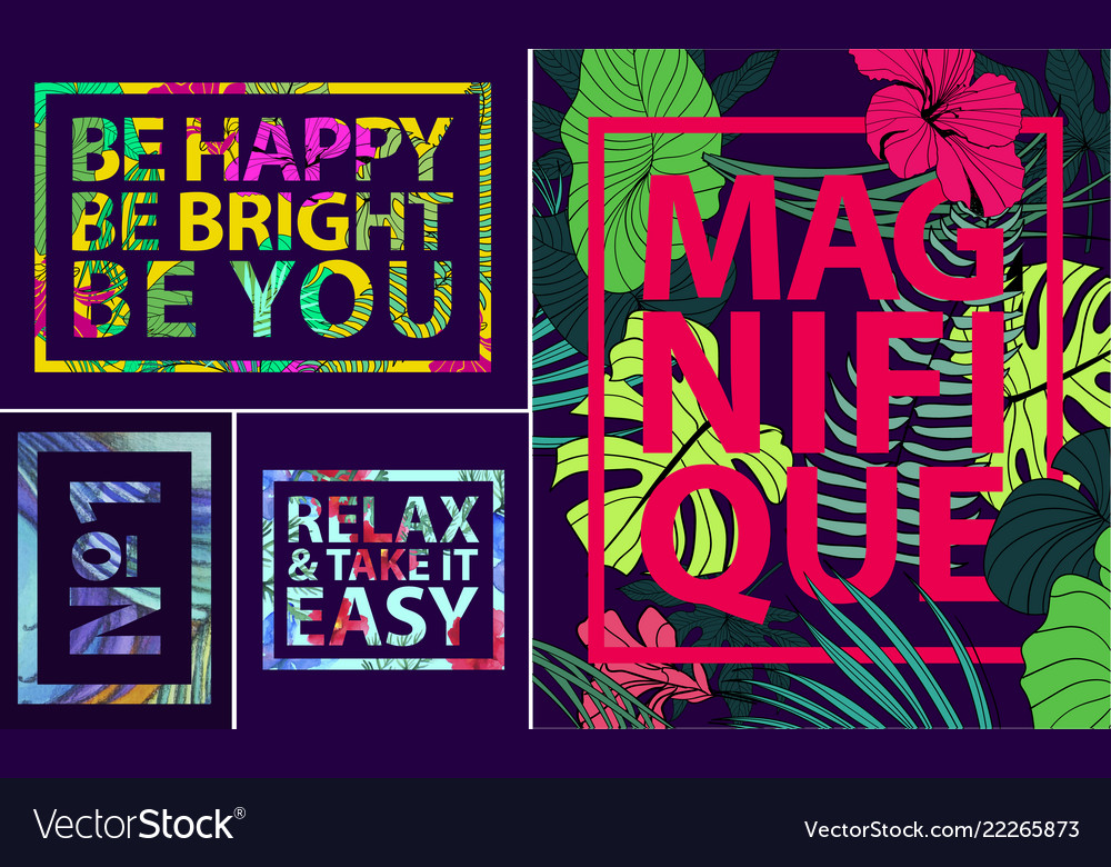 Set of tropical quotes posters and banners