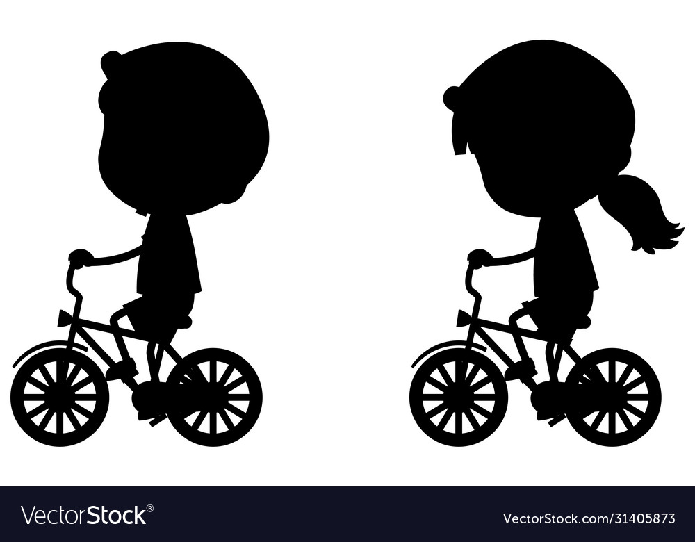 Silhouette boy and girl riding bicycle on white