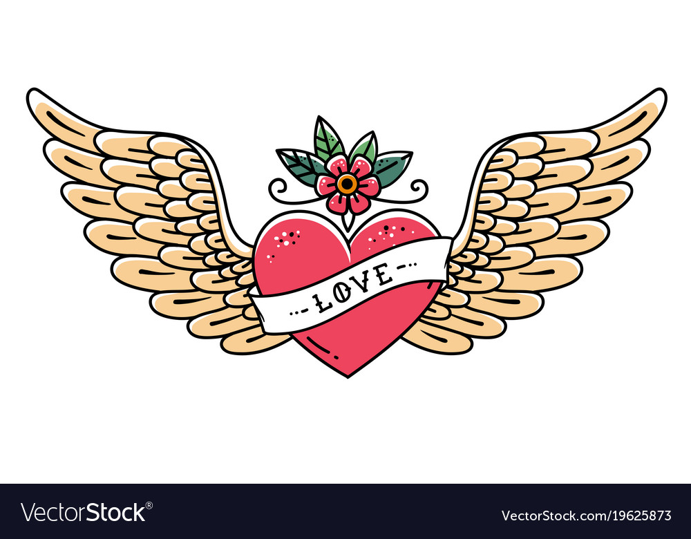Tattoo heart with wings flower and ribbon love