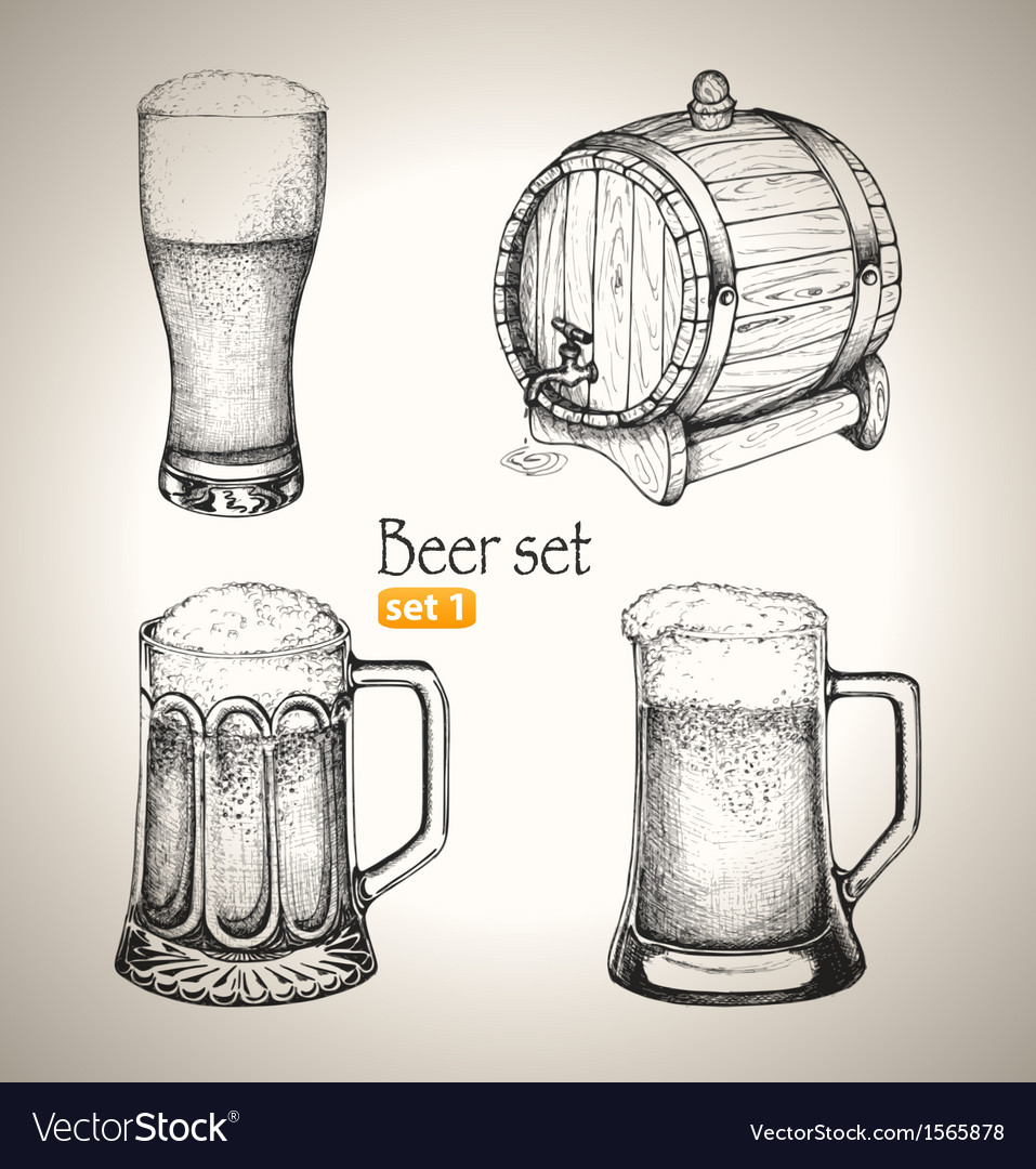Beer Oktoberfest set Toby jugs and beer barrel vector image