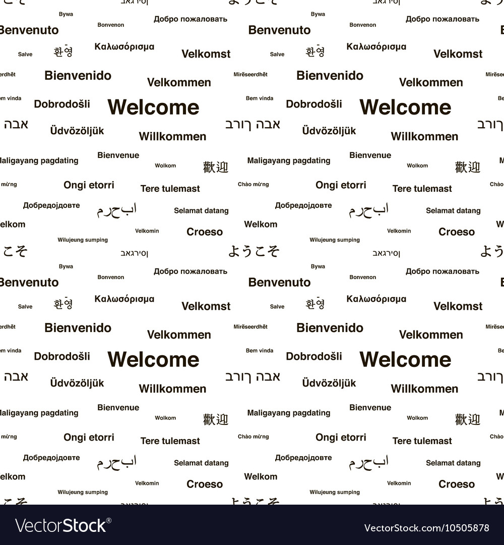 Black Welcome Phrases In Different Languages On Vector Image