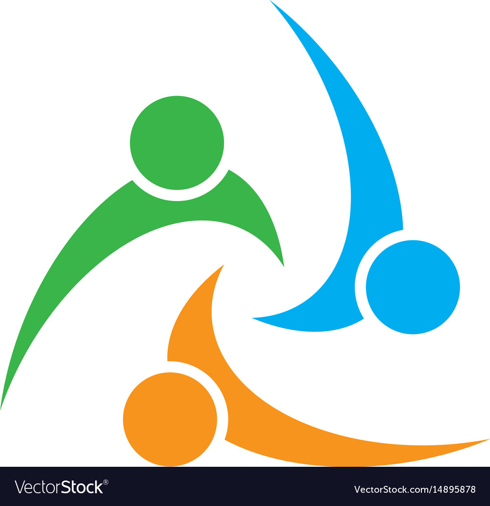 Circle people abstract colorful logo image vector image