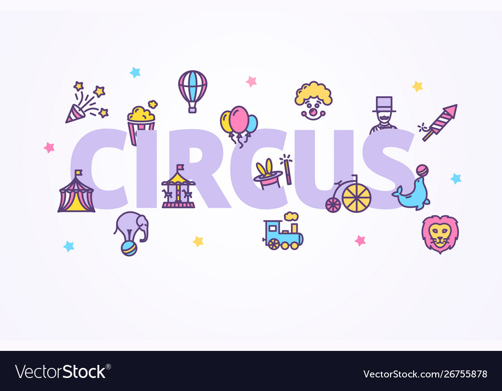 Circus banner with color thin line icon