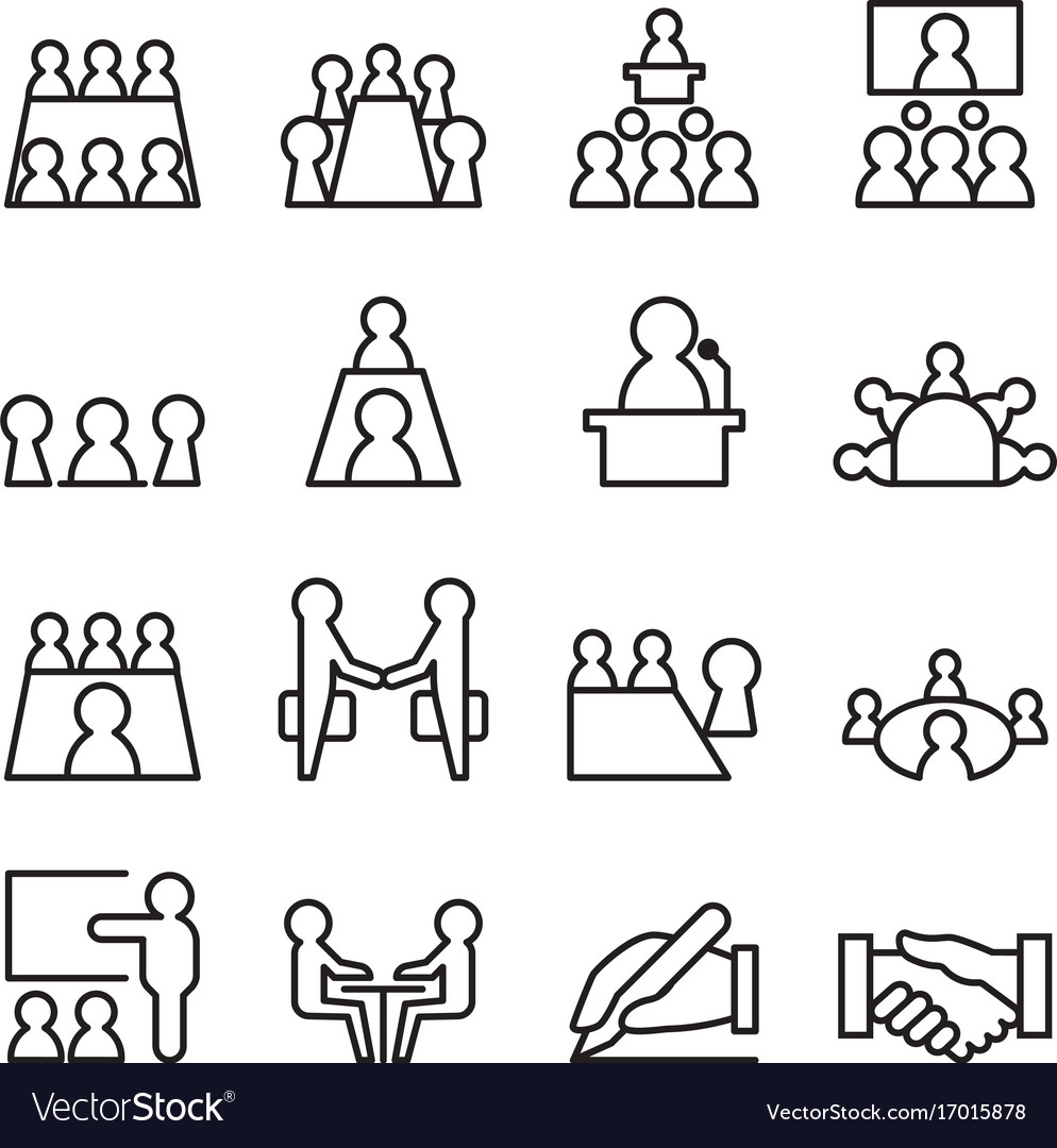 Conference meeting icon set in thin line style