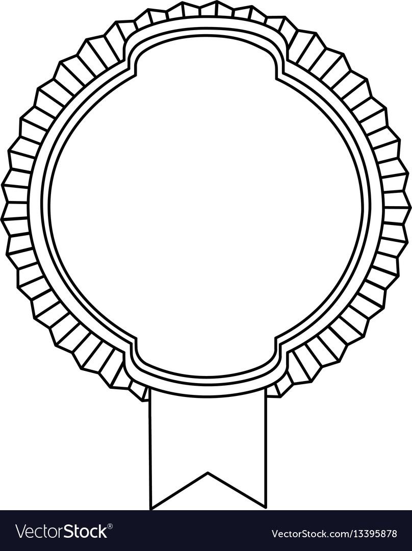 Figure emblem round border with ribbon icon vector image