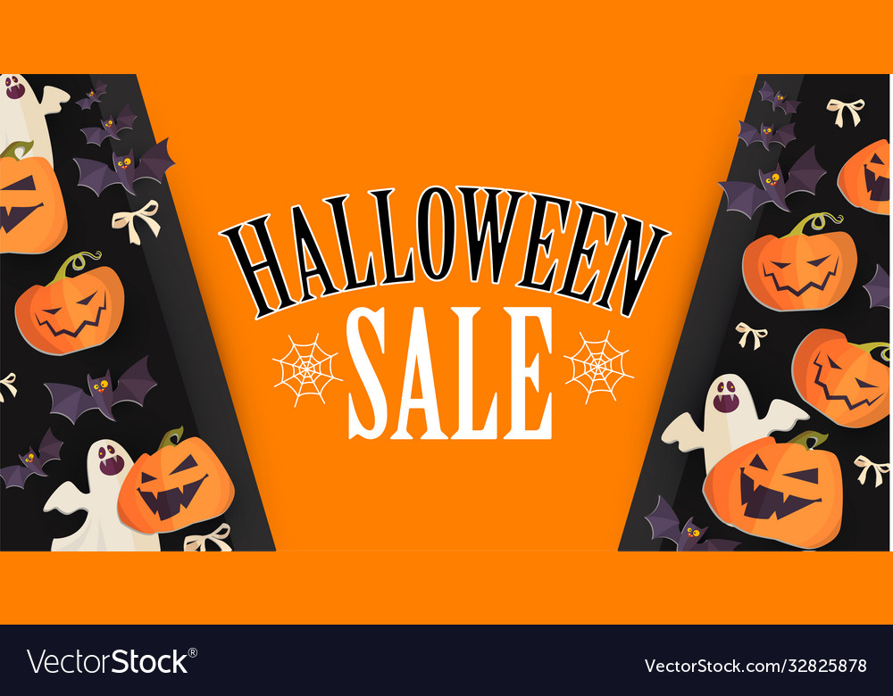 Halloween sale design template with smilling