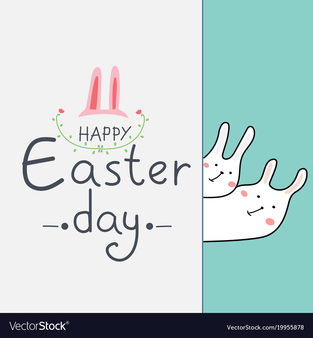 Happy easter day greeting card with cute bunny