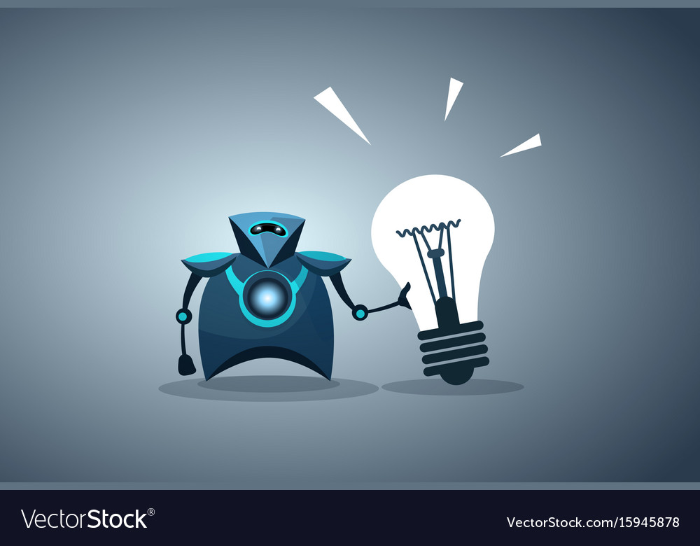 Modern robot holding light bulb innovation new