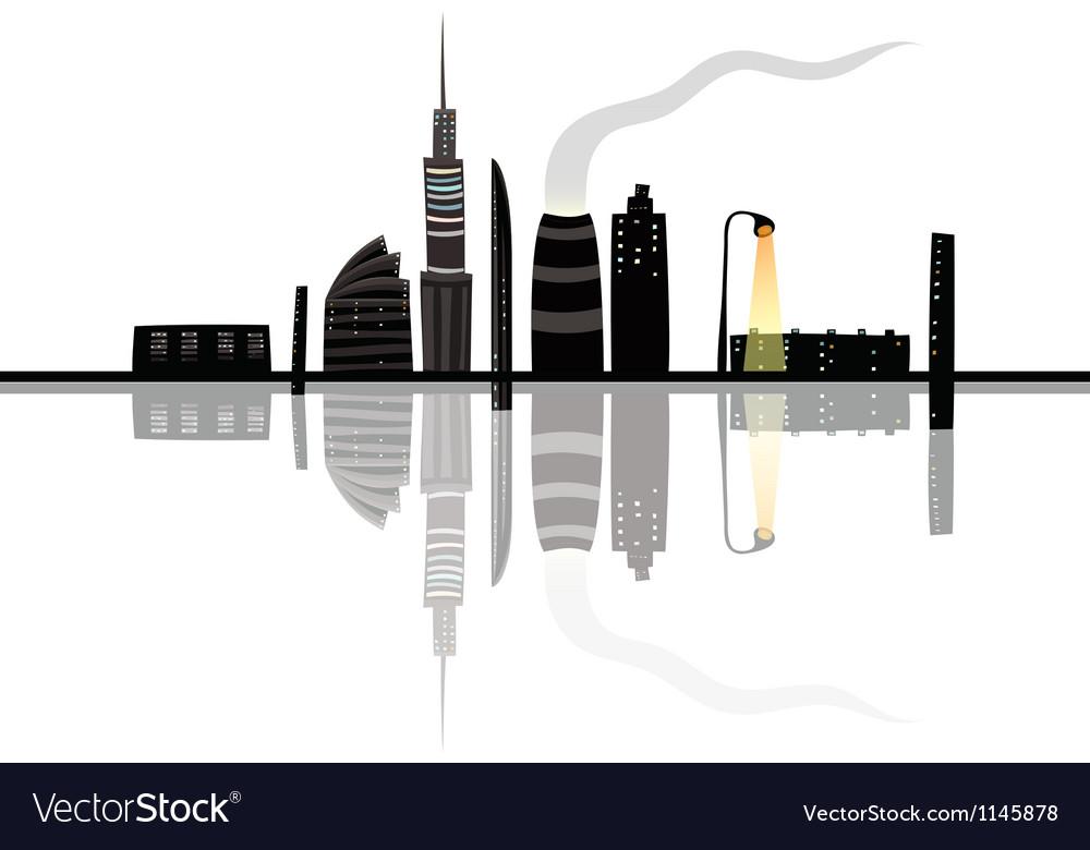 Night City Landscape Reflection Cartoon vector image