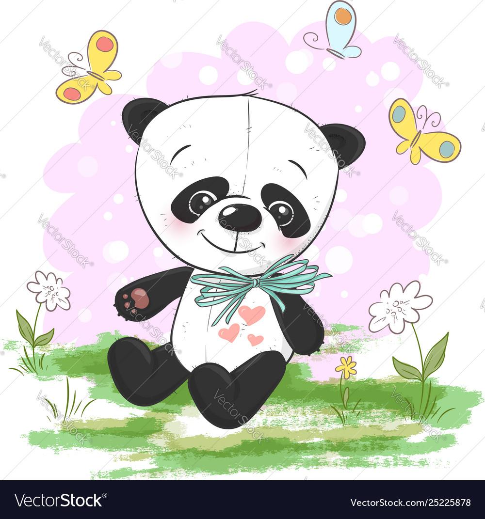Postcard cute cartoon panda