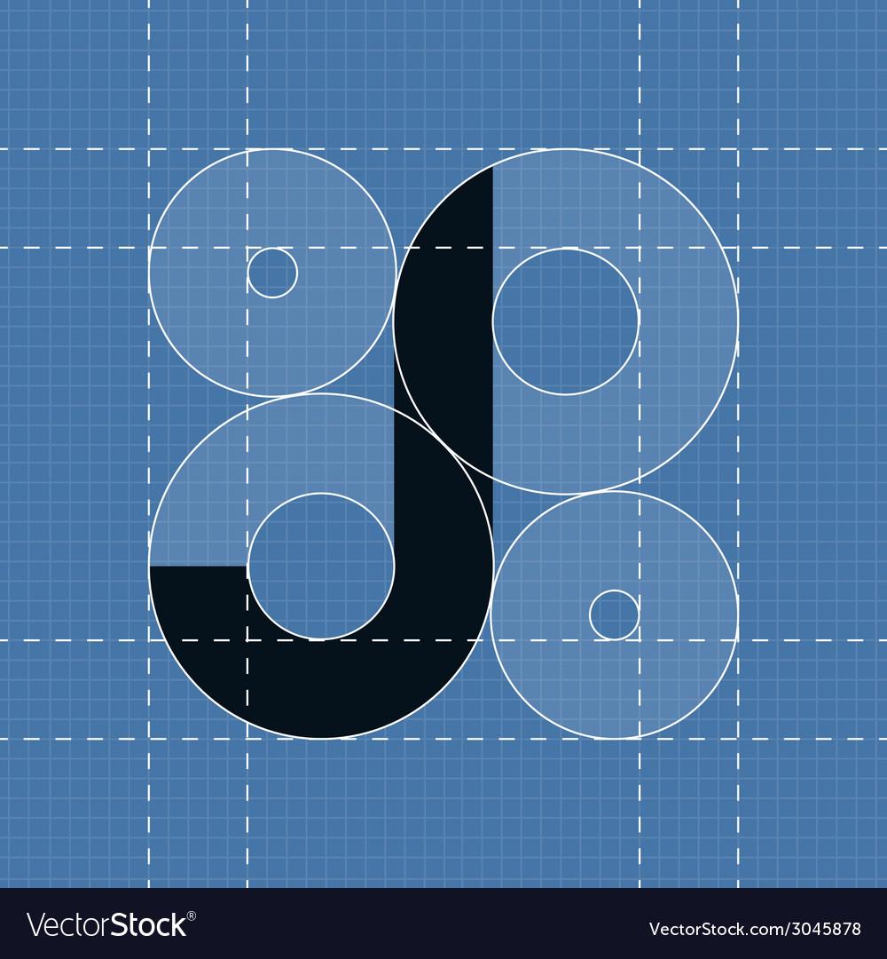 Round engineering font Symbol J