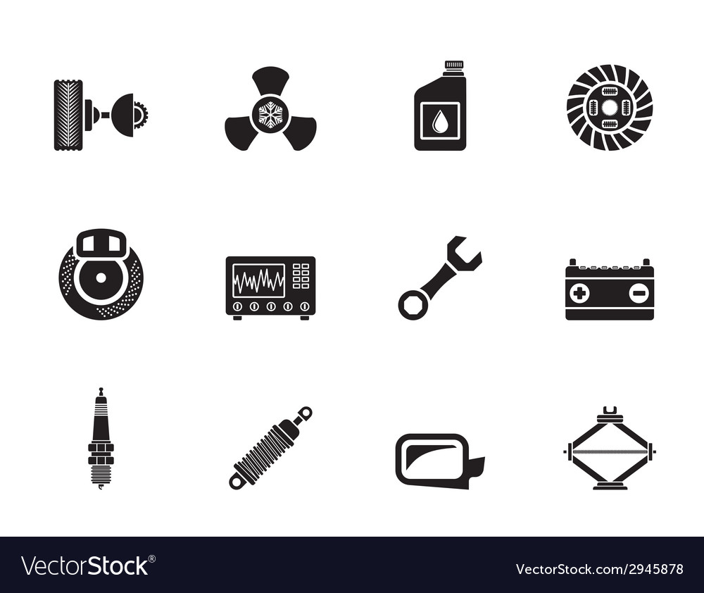 Silhouette Car Parts And Services Icons Royalty Free Vector