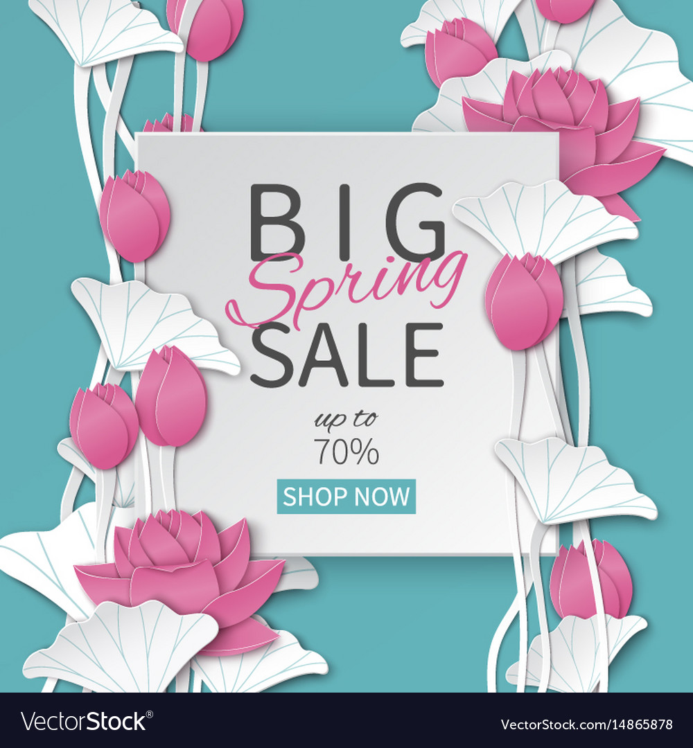 Spring sale banner with paper cut lotus flowers vector image izmirmasajfo