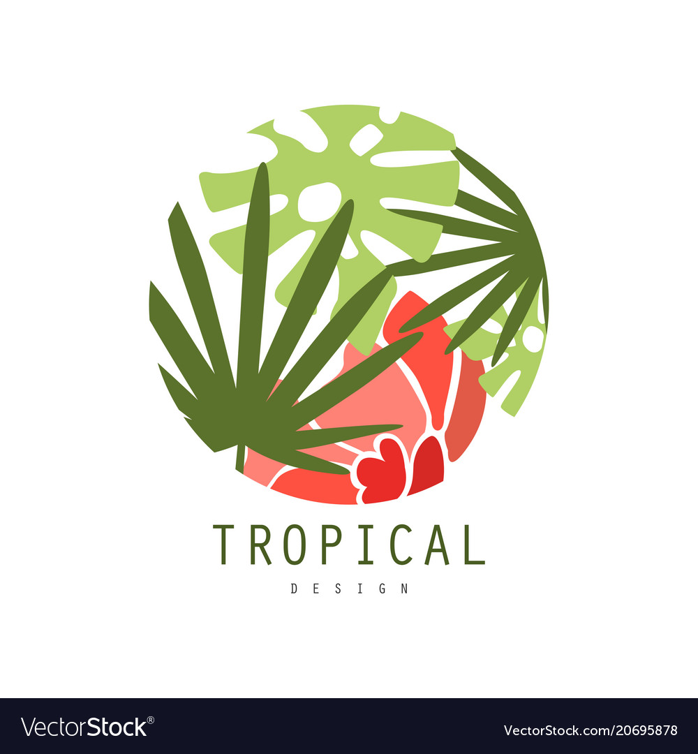 Tropical logo template design round badge with