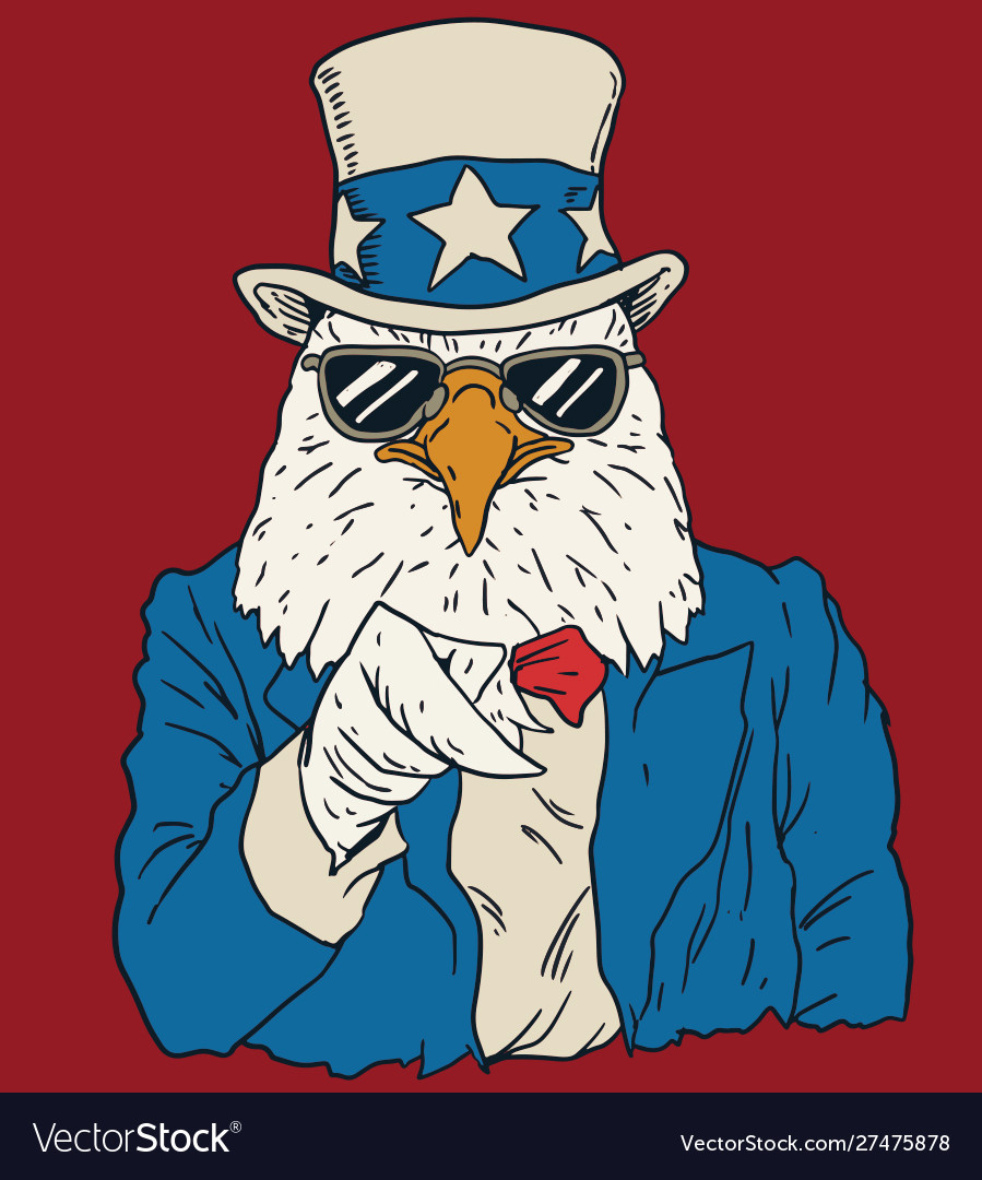 Vintage american bald eagle dressed as uncle sam