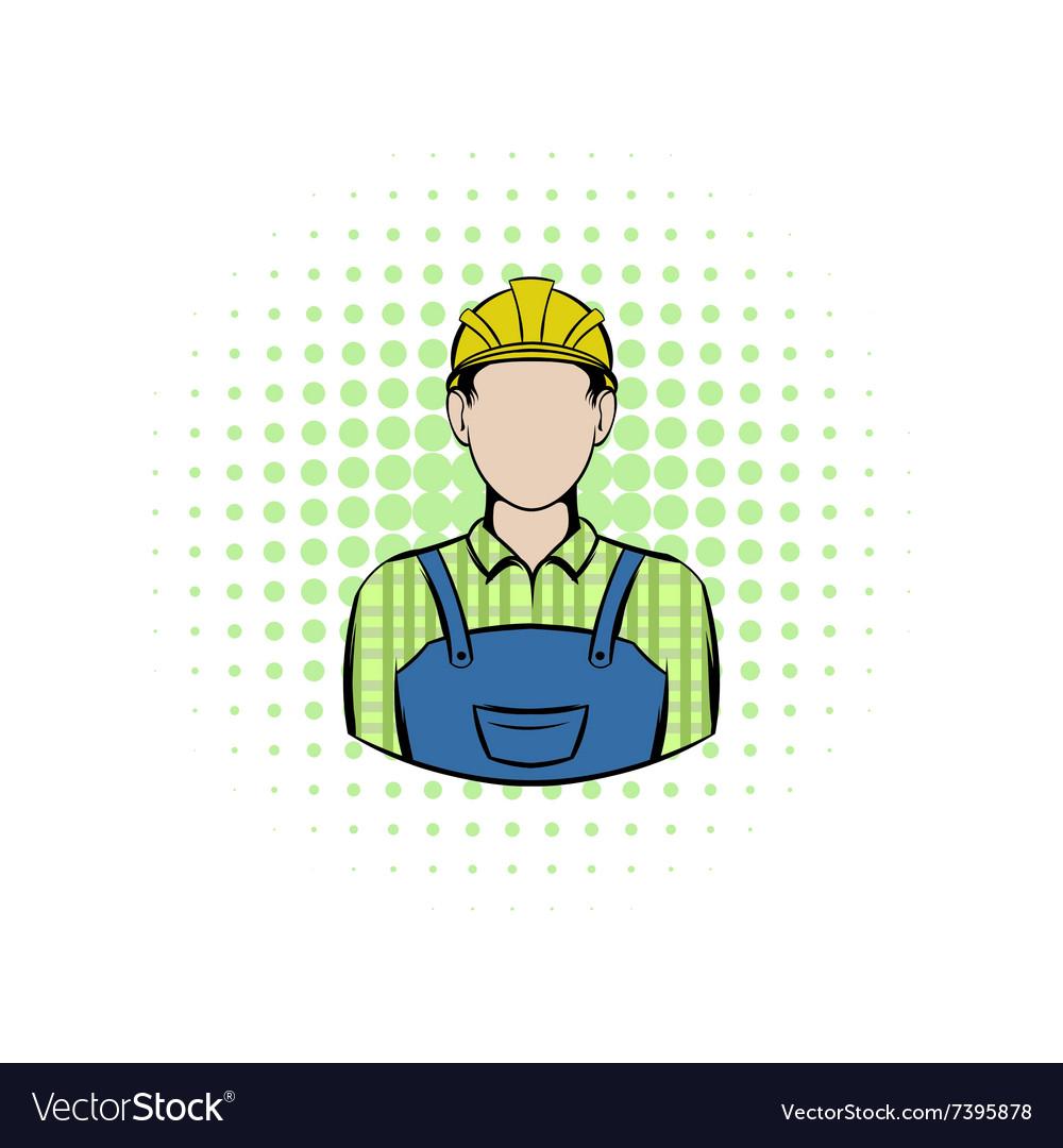 Worker comics icon vector image