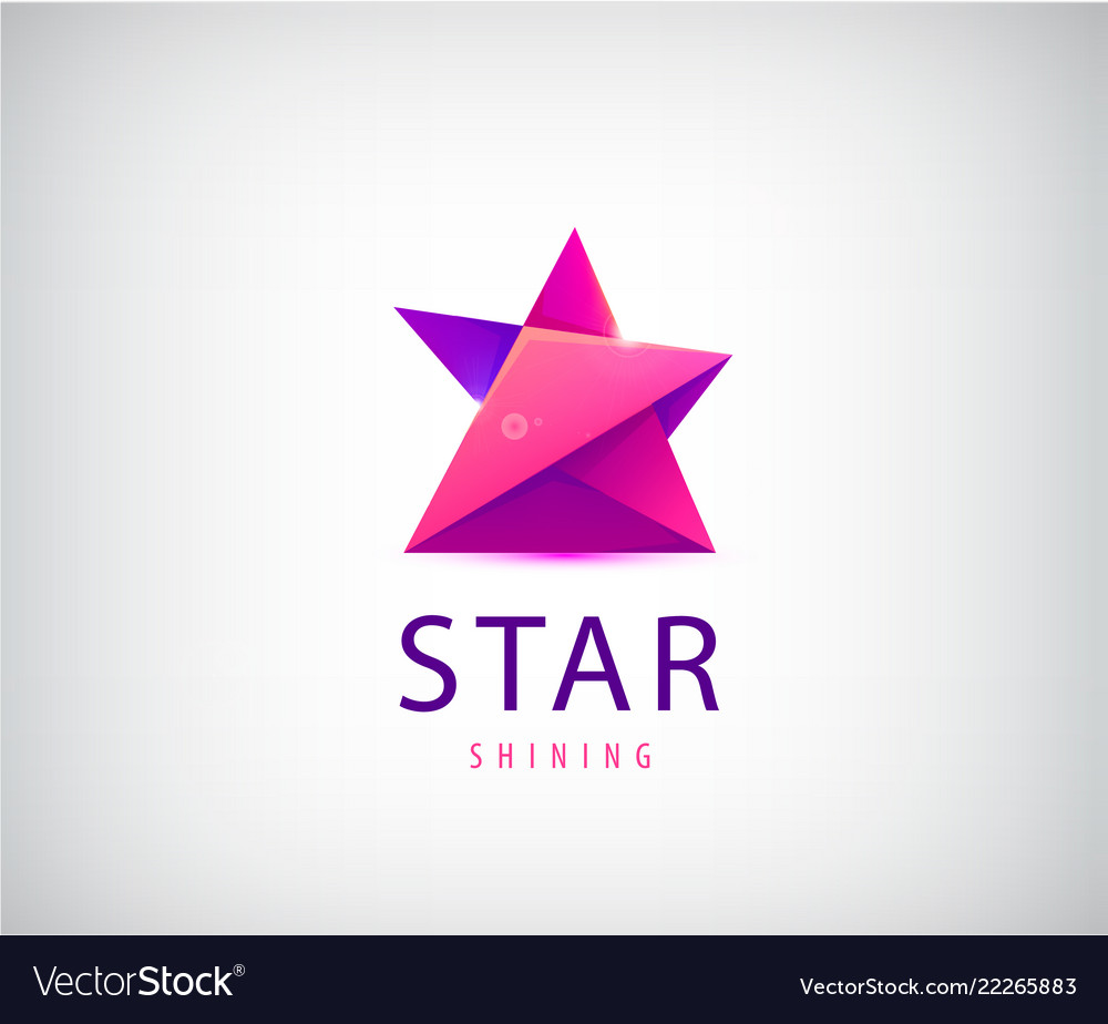 3d origami star logo red and purple