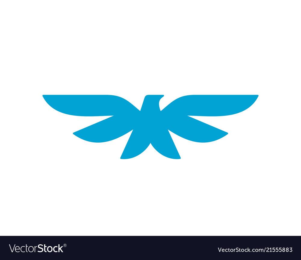 Bird heraldic style symbol blue color icon