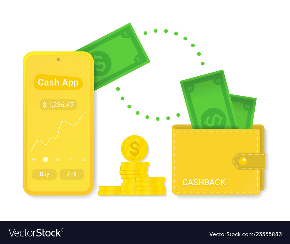 Cash app with cashback isolated sign symbol