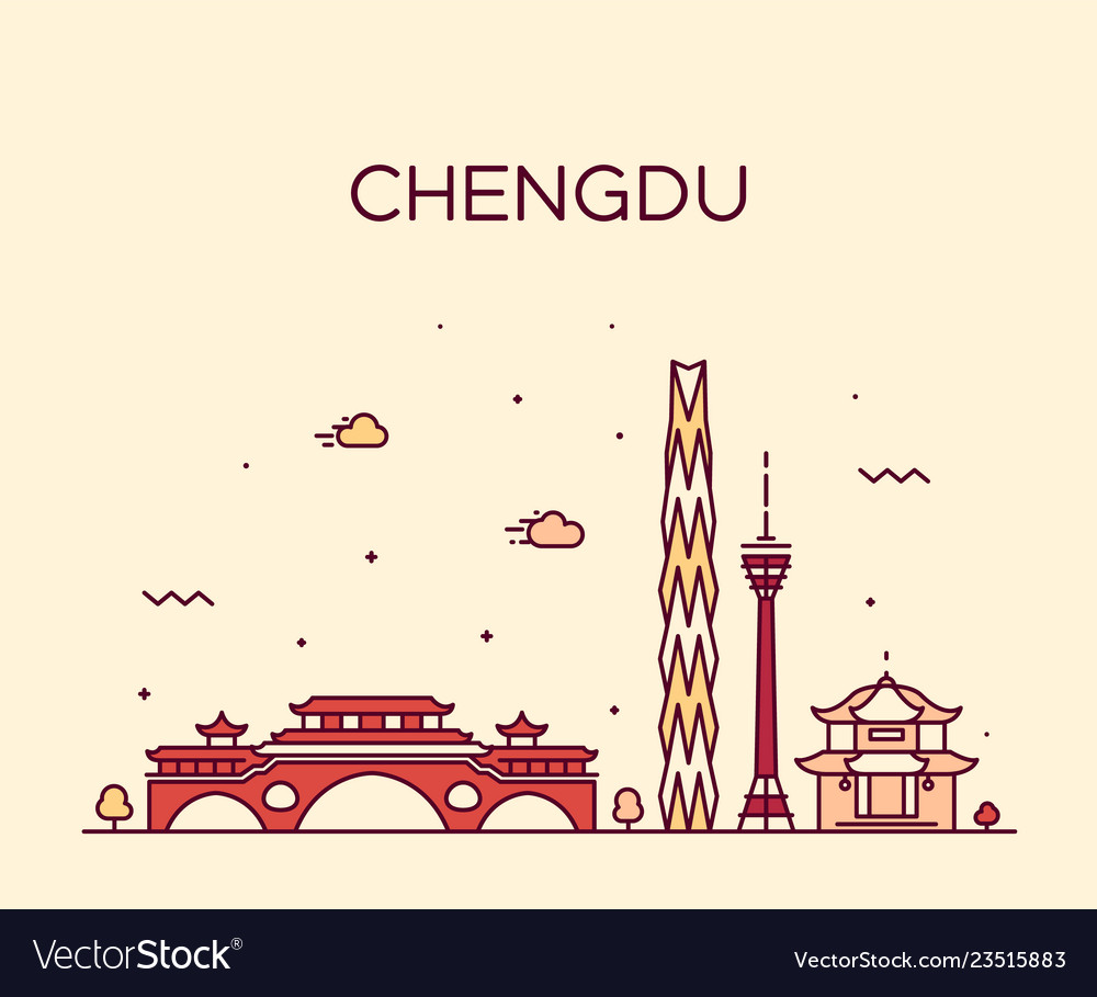 Chengdu skyline sichuan china linear style vector