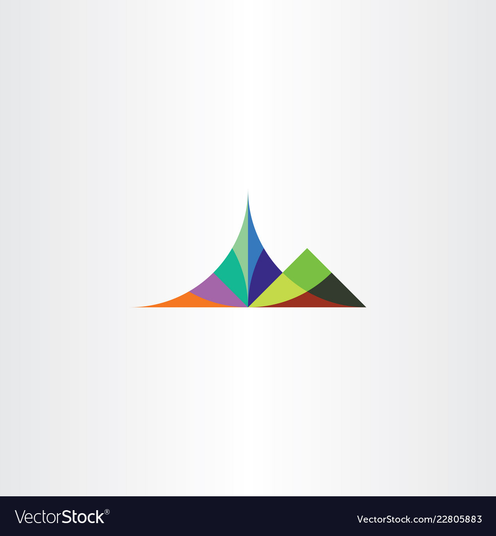 Colorful mountain symbol element