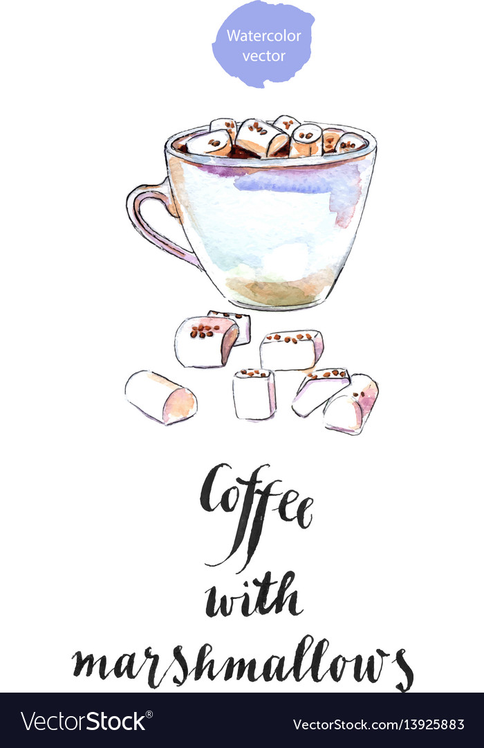 Cup of black coffee with marshmallows vector image