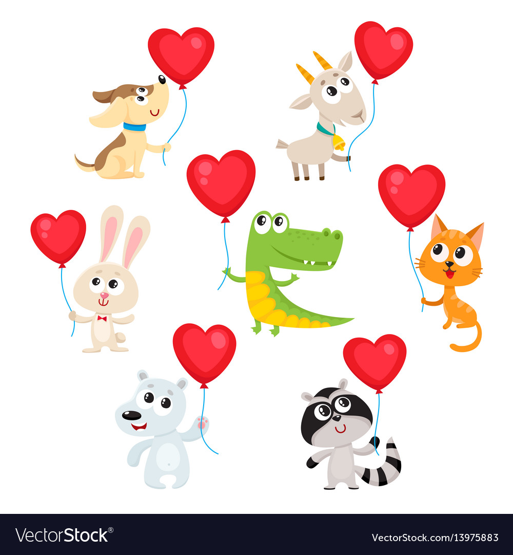 Cute and funny baby animals holding red heart