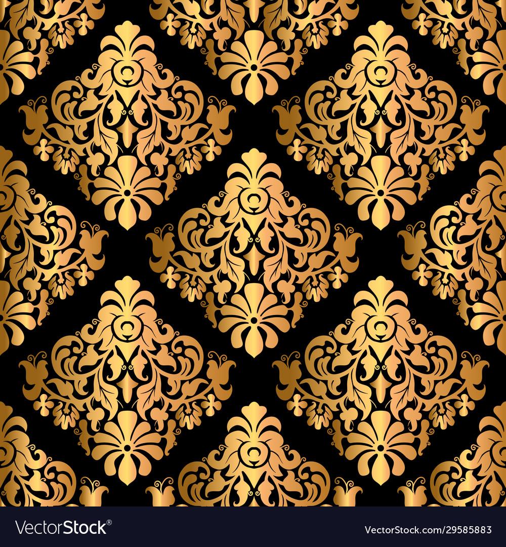 Luxury decorative seamless pattern on black