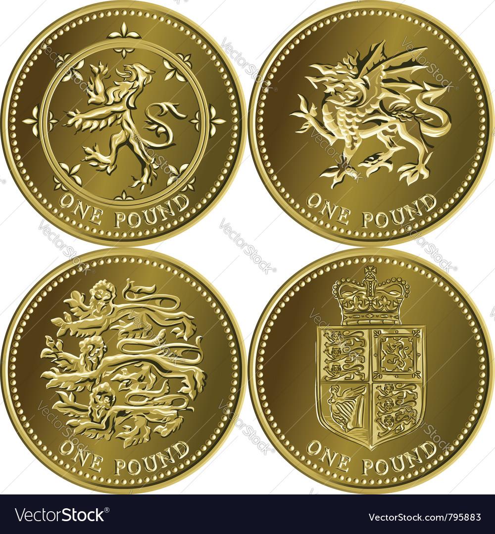Set British Money Gold Coin Vector Image
