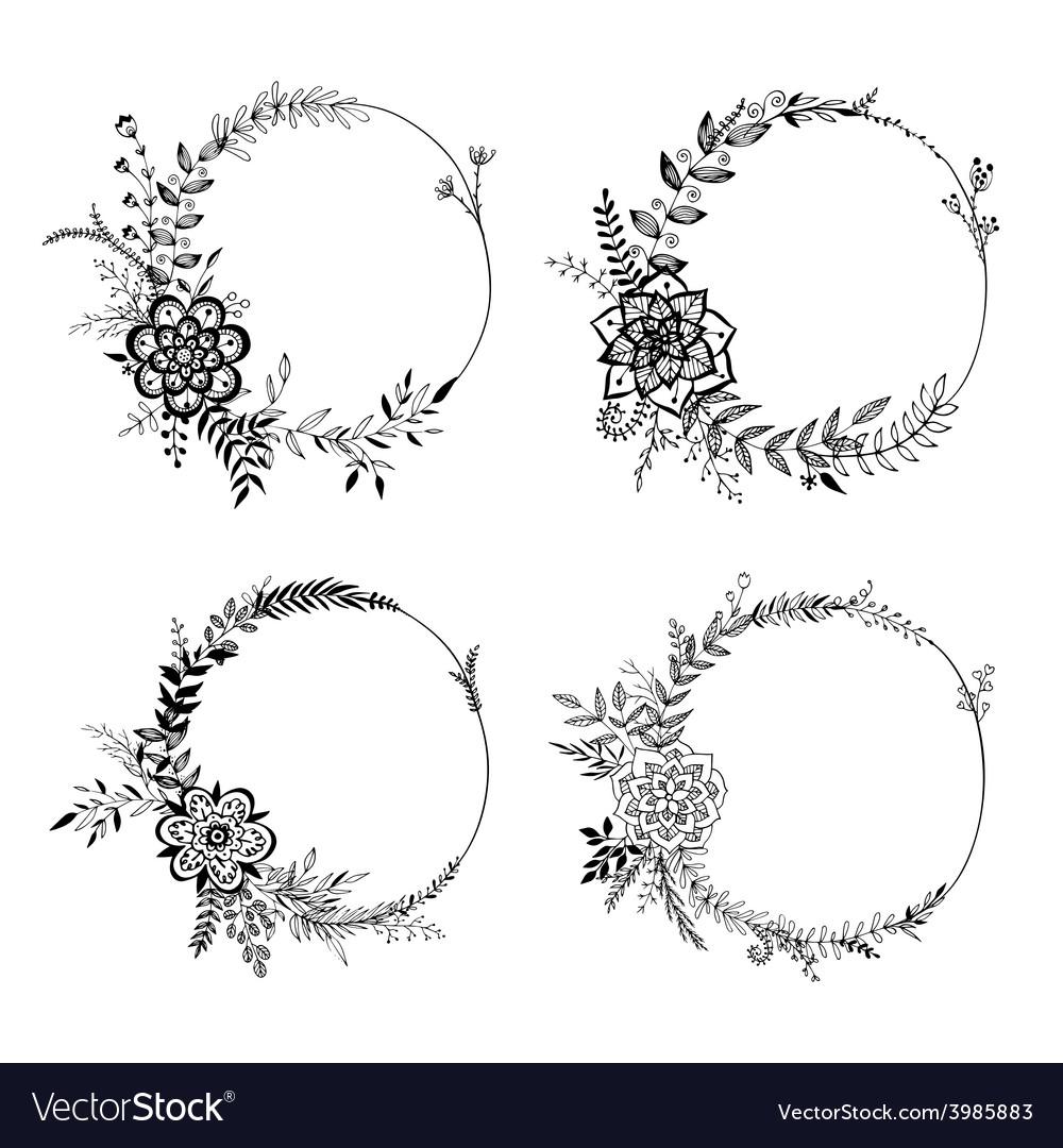Set floral wreaths