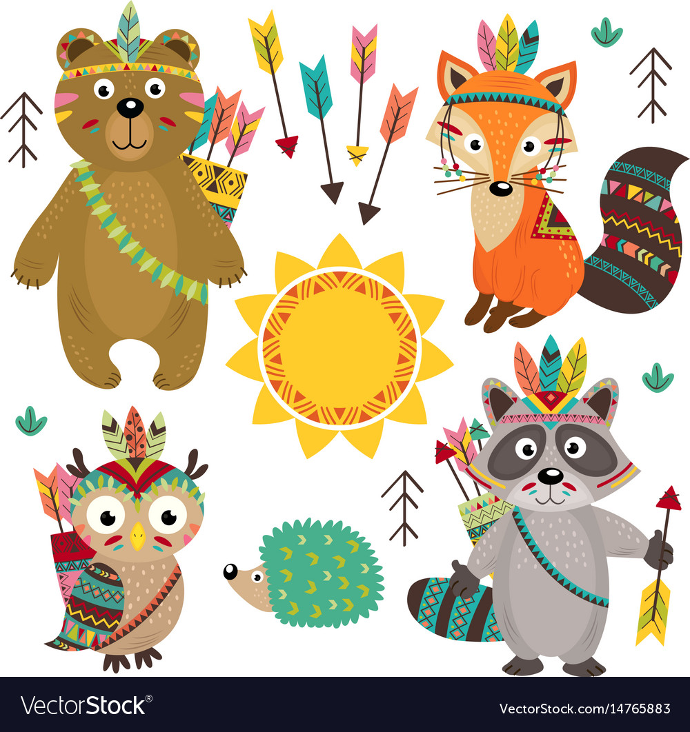 Set of isolated tribal animals part 1
