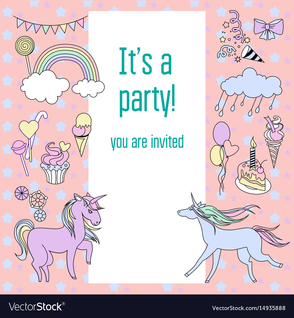 Bright birthday party card with unicorns sweets