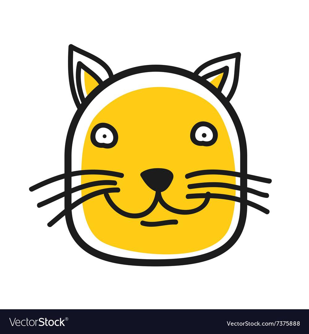 Cartoon animal head icon Cat face avatar vector image
