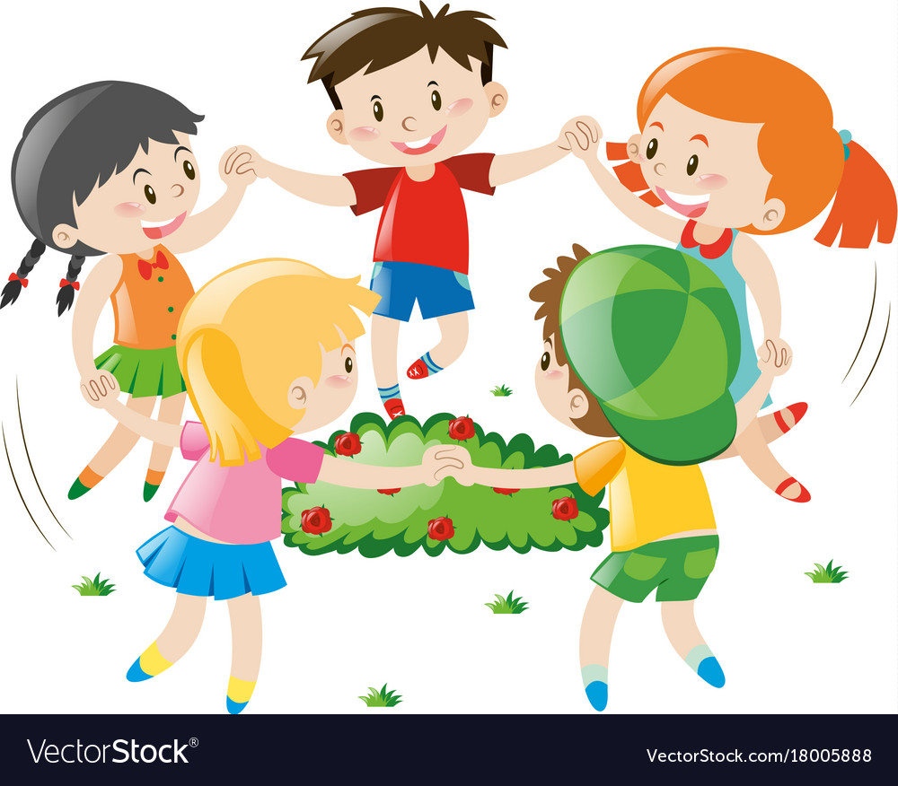 Children holding hands in circle vector image