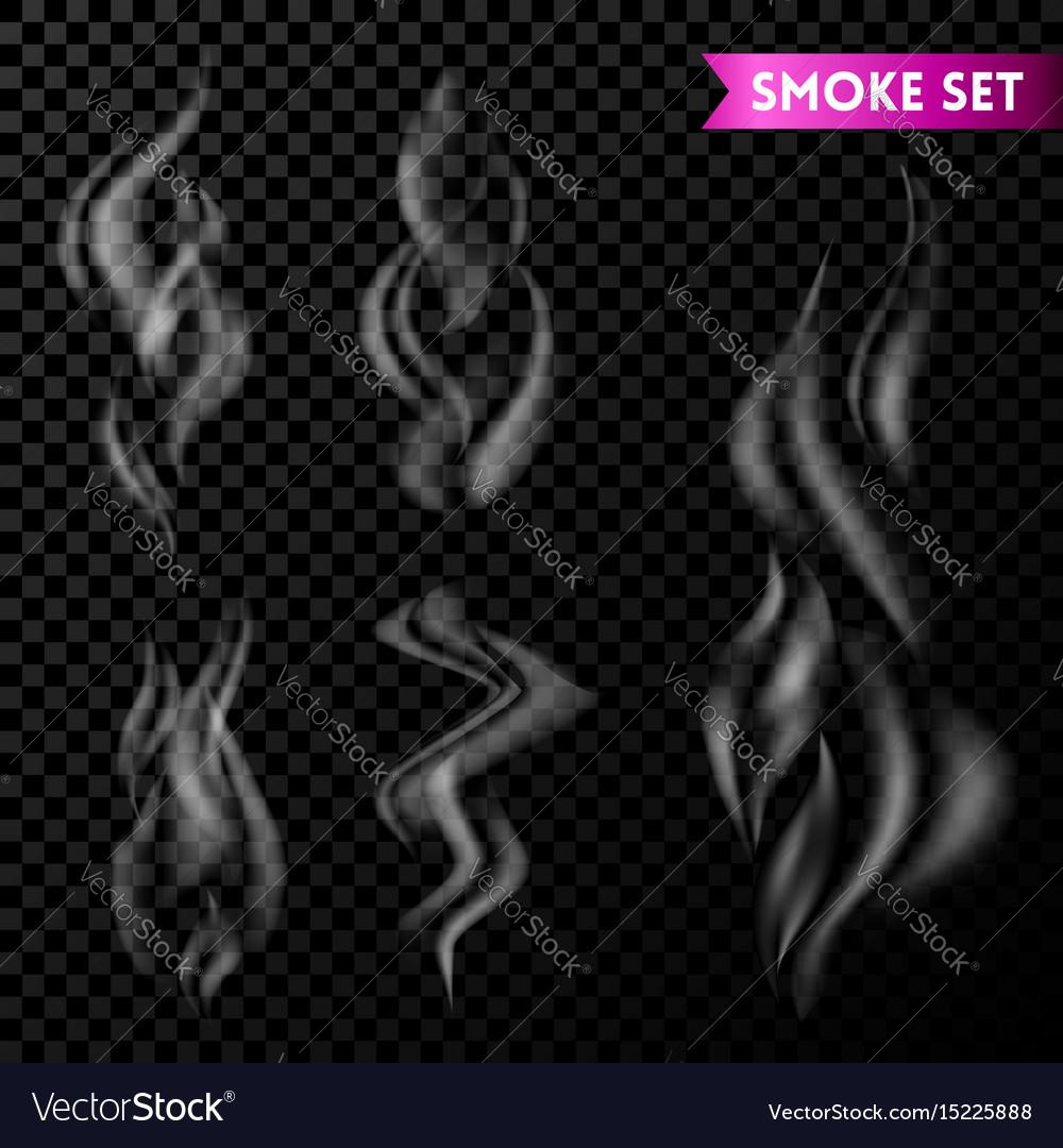 Cigarette smoke waves set isolated on transparent