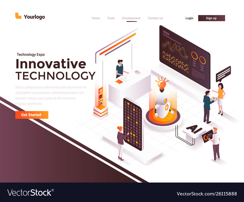 Flat color modern isometric concept - innovative